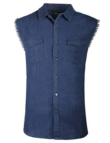 NUTEXROL Men's Sleeveless Denim Shirt Biker Vest 2 Front Pockets Dark Blue S ()