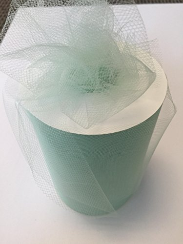 Tulle Fabric Spool/Roll 6 inch x 100 yards (300 feet), 34 Colors Available, On Sale Now! (mint) (100% Polyester Net)