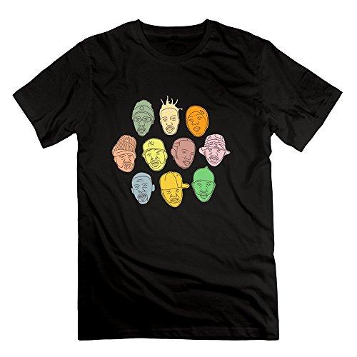(Men's Wu Tang Clan Band Member Face Screw Neck Tshirts Size XS Black)