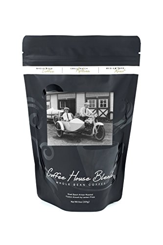 Men on Harley Davidson Motorcycle with Sidecar - Vintage Photograph (8oz Whole Bean Small Batch Artisan Coffee - Bold & Strong Medium Dark Roast w/ Artwork) ()