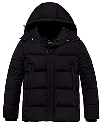 Wantdo Men's Puffer Winter Warm Quilted Jacket Outwear with Removable Hood - Black - Small