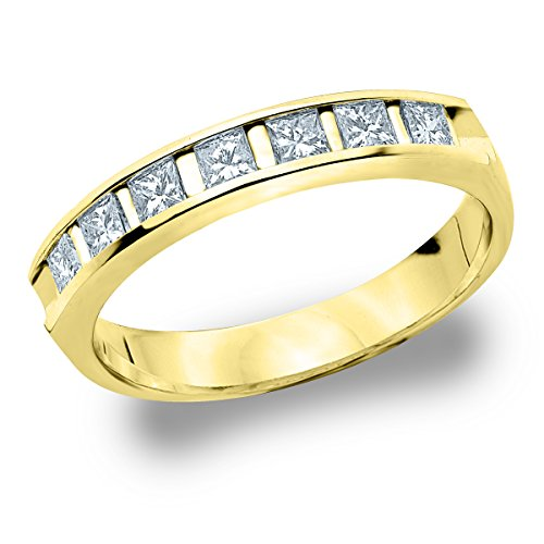 18K Yellow Gold Diamond Princess Cut Bar Set Ring (.50 cttw, F-G Color, VVS2-VS1 Clarity) Size - Diamond Set Bar Princess Cut