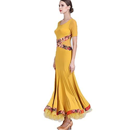Moderno Ballo Prestazione Donne Wear xxl Gingeryellow Valzer Corte Costume Di Tango Maniche Delle Sociale Pratica Vestito Sala Da L Wqwlf Gonna Dance zwxq04Iw