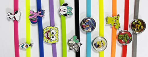 Shannon's Chixx Colorful Poultry Leg Bands with Bling Charms ~ 10 Cartoon - Trois Rose