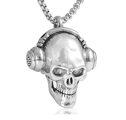 SY-Only Stainless Steel Skull Pendant, Necklace for Men, Punk Rock or Hip hop,Polished 24'' Chain (Rock Skull Headphones & 24'' Chain)