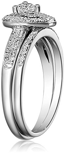 14k White Gold Heart Diamond Bridal Ring Set (0.56 cttw, I J Color, I1 I2 Clarity)