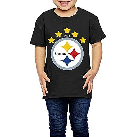 AK79 Kids 2-6 Years Old Boys And Girls Pittsburgh Logo Steelers Tee Shirt Black Size 5-6 Toddler (The Maze Runner T Shirt Girls)