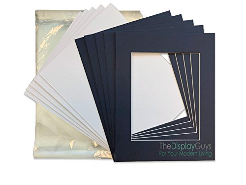 THE DISPLAY GUYS 8x10 Pack of 25 Textured Dignity Blue Picture Photo Matting Mat Boards + Backing Boards + Clear Plastic Bags Complete Set -