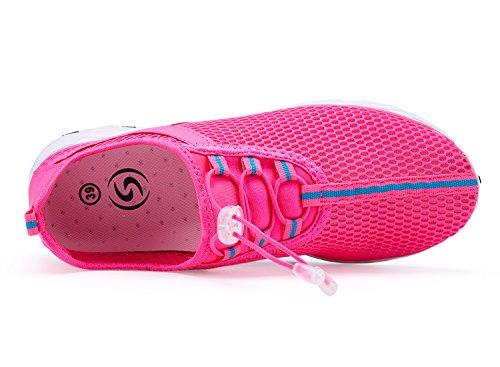 Der Netz-Beleg der A-PIE Frauen auf schnell trocknenden Wasser-Schuhen rot