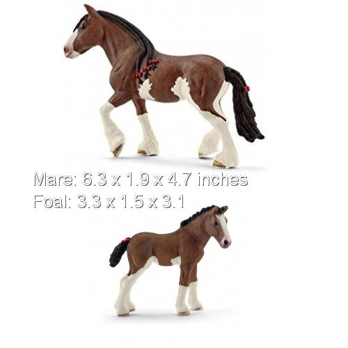 Schleich Horse Farm Care Set of 2 Horses: Clydesdale Mare and Foal Set in Bag Ready to Give ()