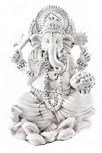 Bellaa 20957 Ganesh Statues Hindu Good Luck God White 7