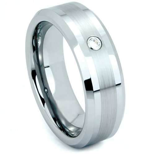 Tungsten Brushed Satin CZ Comfort Fit Band, Size 12 by The Men's Jewelry Store (Unisex Jewelry)