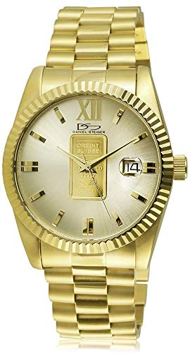 1g Watch - Daniel Steiger 24K Gold Ingot Men's Watch - Genuine 1g 24K Gold Ingot On Dial Complete with Swiss Certificate of Authenticity - Precision Quartz Movement - Magnificent Presenation Case
