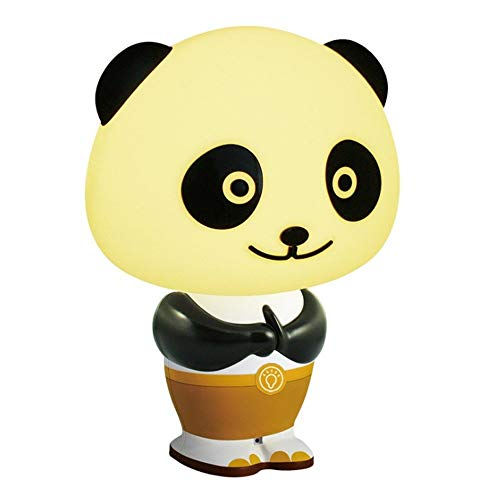 Qyyru Panda Night Light Smart table lamp LED sound control Touch Table Desk Lamps, Lights with Acrylic Flat USB Charger for Holidays Gifts Lovely Cartoon Kungfu Lamps For Children Adults Christmas Bir