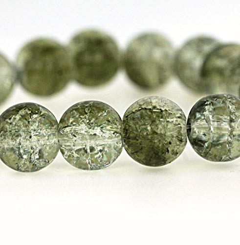 Olive Green Glass Beads - 15 Crackle Glass Beads - Olive Green & Clear Crackle - 10mm - for Jewelry Making, Supply for DIY Beading Projects