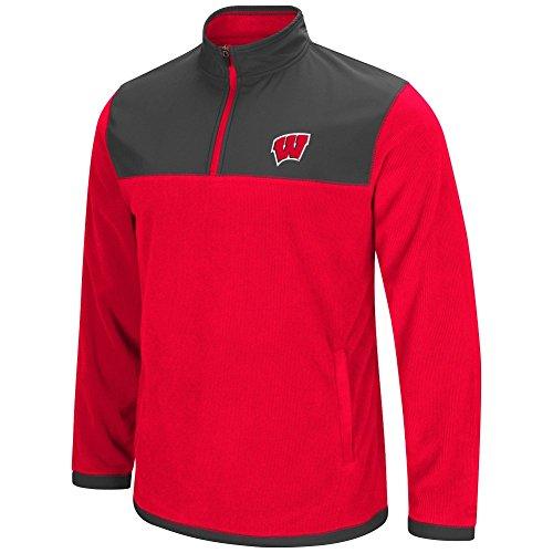 Badger Polar Fleece - Colosseum Men's NCAA-Blocker Corded Polar Fleece-Full Zip Jacket-Wisconsin Badgers-Red-XXL