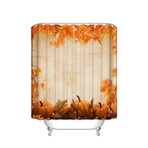 Share faith theme thanksgiving shower curtain, yellow maple leaf and pumpkin harvest thanksgiving ideas, mildew polyester fabric shower curtain, 66x72 inches, bathroom accessories, yellow green by JANNINSE