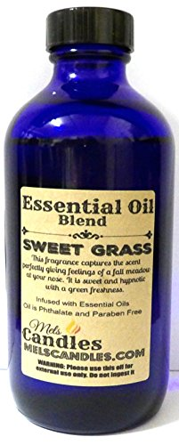 Sweet Grass 4oz / 118.29ml Blue Glass Bottle of Premium Grade A Fragrance Oil/essential oil, Skin Safe Oil, Use in Candles, Soap, Lotions, Etc (Essential Sweetgrass Oil)