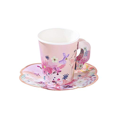 Talking Tables BG-CUPSET Blossom Party Paper Tea Cups, Pack of 12, Height 8cm, 3