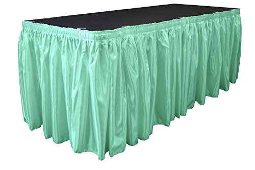 (LA Linen Bridal Satin Pleated Table Skirt with 10 Large Clips, 14-Feet by 29-Inch, Mint )