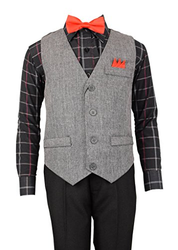 Vittorino Boys 4 Piece Holiday Suit Set with Vest Dress Shirt Tie Pants and Hankerchief,Black/ Grey Vest,14 (Holiday Boys Vest)
