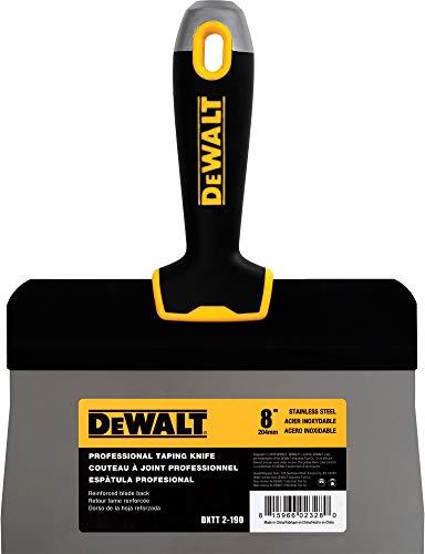 DEWALT 8-Inch Big Back Taping Knife | Stainless Steel w/Soft Grip Handle | DXTT-2-190
