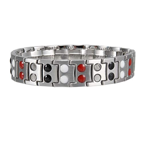 - KSDJSA 1 Pcs Men Bracelet Magnetic Therapy Stainless Steel Double Layer Gift M8694 Silver