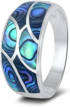 Sterling Silver Hand Cut Mosaic Abalone Shell Inlaid Ring - (Size 6-9)