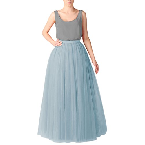 Wedding Planning Long Tutu Tulle Skirt A Line Floor Length Skirts XX-Large Dusty Blue ()