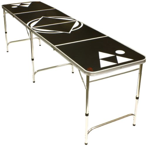 Beer Pong Table 8 FEET - Portable with Bottle Opener & 6 Pong Balls - Over 35 Designs!