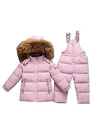 honuansortory Kid's Down Coat Toddler Snowsuit Hooded Down Jacket with Bib Pants Baby Boys Girls Winter Thicken Overcoat