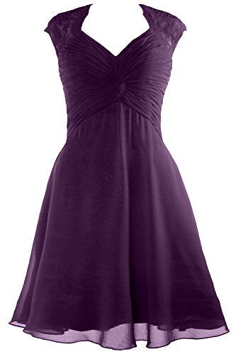 Cap Chiffon 2017 Lace MACloth Plum Cocktail Women Dress Bridesmaid Short Sleeve Dress 4CwxC5qS6