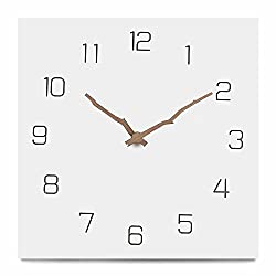 FlorLife Modern Decorative Square Wall Clock 12 Inch Silent Non-Ticking Large Wooden Hanging Clock for Office Living Room Kitchen Bedroom