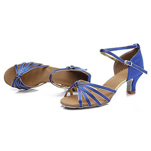 Chaussures De Danse Latine Satin De Roymall Femmes Modèle 217 5cm Bleu