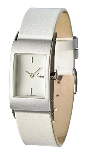 Moog Paris Dome First Women's Watch with White Dial, Interchangable White Strap in Genuine Leather - M00011-003