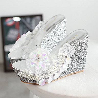 5 US7 Silicone Toe Women'S White CN38 UK5 Dress RTRY Pink Sandals Silver 5 Wedge EU38 Shoes Transparent Heelopen wWS77OAq