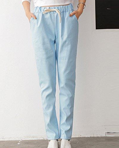 Lungo Azzurro Harem Elastica Pantalone Donna Con Sciolto Pantaloni Coulisse Vita Retro 4YqvqXx