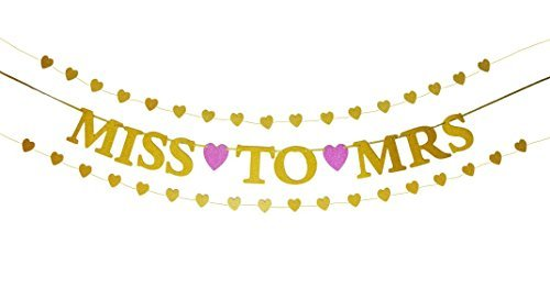 Miss to Mrs Banner and Gold Glitter Heart-Shaped Garlands Set - Decorations for Bachelorette Party, Bridal Shower, Engagement Party, Rehearsal Dinner, Wedding Reception (Pre-Strung) for $<!---->