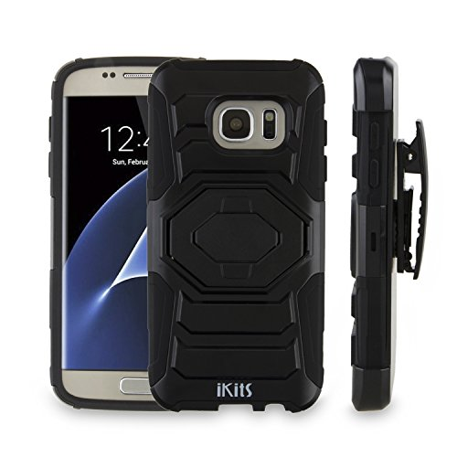 Samsung Galaxy S7 Case, iKits Heavy Duty Dual Layer Hybrid Armor Case with Kickstand Feature Holster Belt Clip Case Shock Absorption Protective Case Cover for S7 2016 Edition (Black - Hexagon Stand)