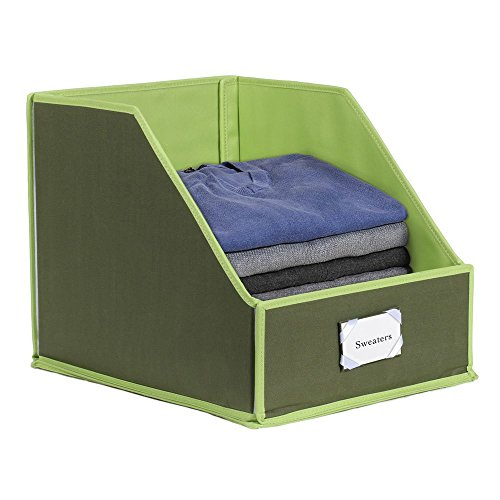 G.U.S Closet Shelf Storage Bin To Organize Sweaters, Jeans and Shirts - Olive with Green Trim (Tall Linen Closet)