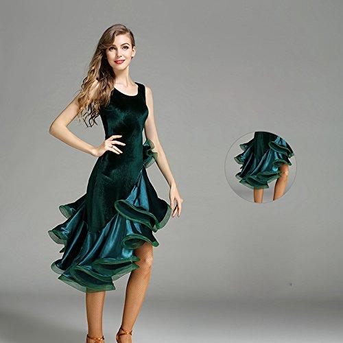 Sin Vals Vestido Y Latino Tango Péndulo Mangas Baile Moderno Señora Trajes Ztxy Falda Grande De Green Danza FqwPtgg