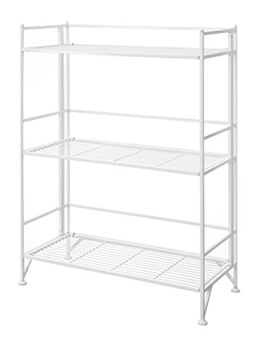 - Convenience Concepts Designs2Go X-Tra Storage 3-Tier Wide Folding Metal Shelf, White