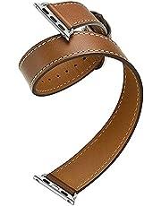 PAZHOU Podwójny pasek do zegarka Apple Watch 44 mm/40 mm 42 mm/38 mm pasek do zegarka bransoletka iWatch seria 5 4 3 se 6 pasek (kolor paska: brązowy, szerokość paska: 40 mm)