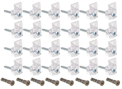 - 24 Pack Mirror Clips for Wall 20 Pound Clear Plastic Mirror Holder Clip Screw and Anchor Mount, Modern, Mirror Hanging Kit 1/4