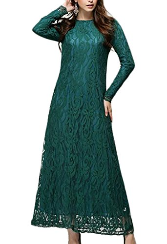 Price comparison product image ARRIVE GUIDE Womens Elegant Long Sleeve Solid Lace Muslim Islamic Maxi Dress Green Large
