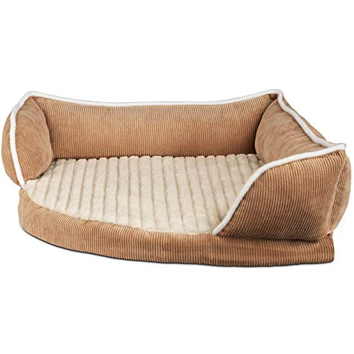 Paws & Pals Dog Bed for Pets & Cats – Triangle Corner Lounger with Self Warming Cozy Inner Cushion for Home Crate & Travel – Medium, Beige