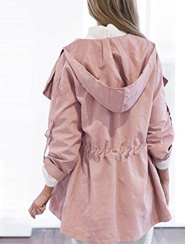Abrigo Pink Capucha Larga Otoño Baymate Outerwear Mujer Coat Manga con Jacket para Chaqueta Trench wCxIZO