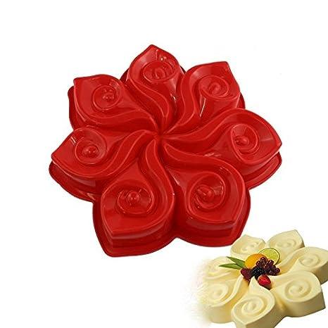 Molde de silicona para tartas de silicona, diseño de flores, para tartas, helados, helados, postres románticos: Amazon.es: Hogar