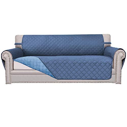 Easy-Going Sofa Slipcover Reversible Sofa Cover Furniture Protector Couch Cover Elastic Straps PetsKidsChildrenDogCat(Sofa,Dark Blue/Light Blue)