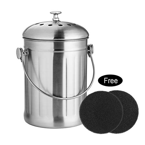 - ENLOY Compost Bin, Stainless Steel Indoor Compost Bucket for Kitchen Countertop Odorless Compost Pail for Kitchen Food Waste with Carrying Handle and 2 Charcoal Filter 1.3 Gallon Easy to Clean